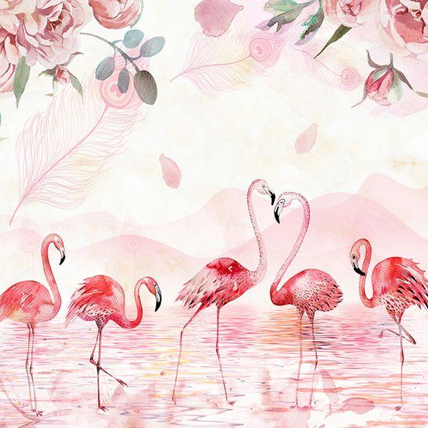 Фотообои Фламинго акварель
