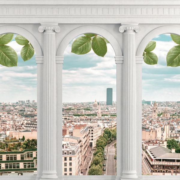 Арочные окна с видом на город