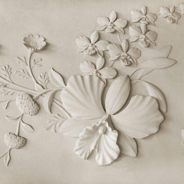 Фотообои Барельеф цветы на стене