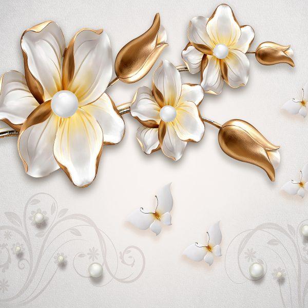 Фотообои Белые бабочки с цветами
