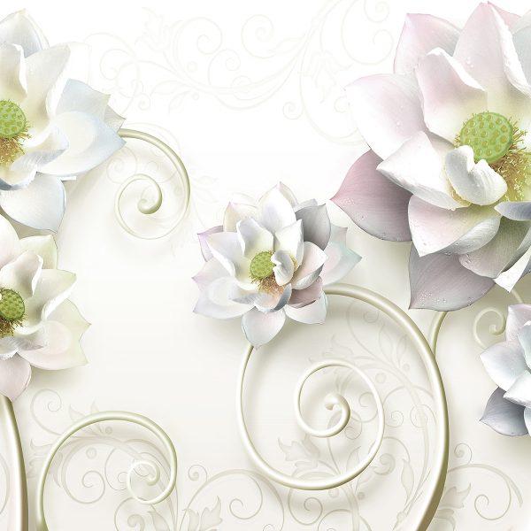 Фотообои Белые цветы с вензелями