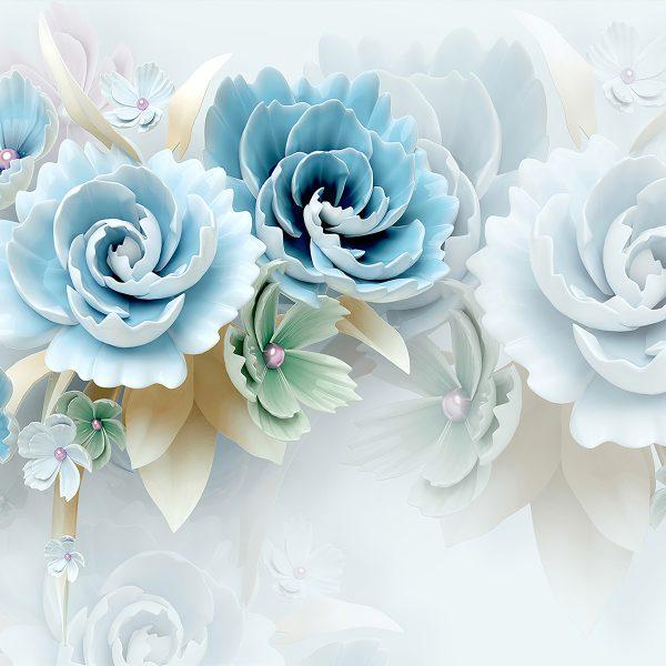 Фотообои Большие голубые цветы