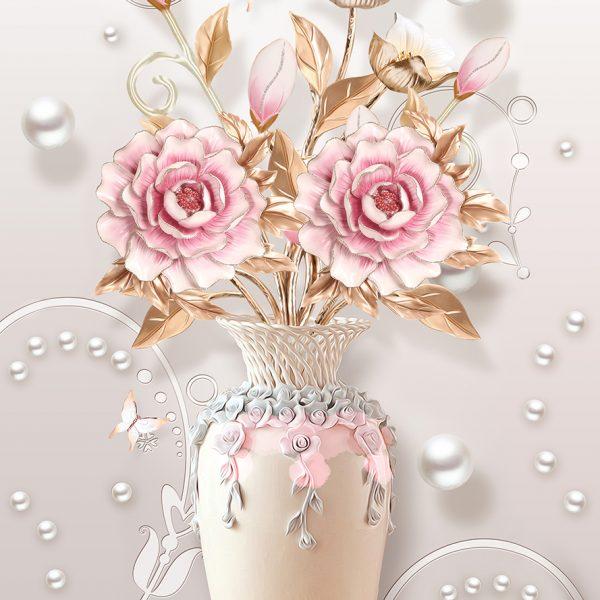 Фотообои Ваза с розовыми цветами