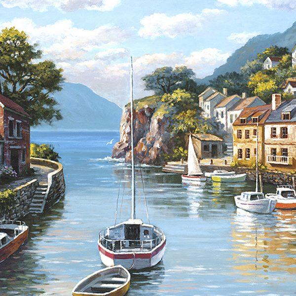 Городок у моря живопись
