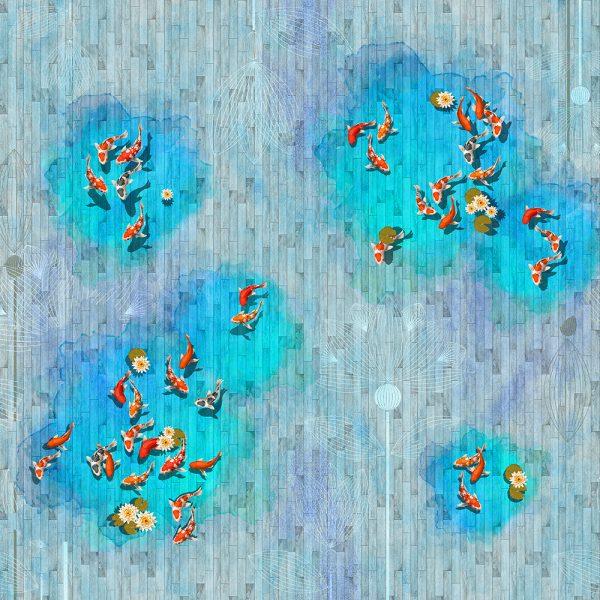 Рыбки на деревянном фоне